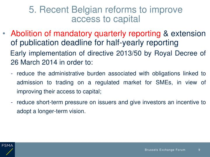 5. Recent Belgian reforms to improve