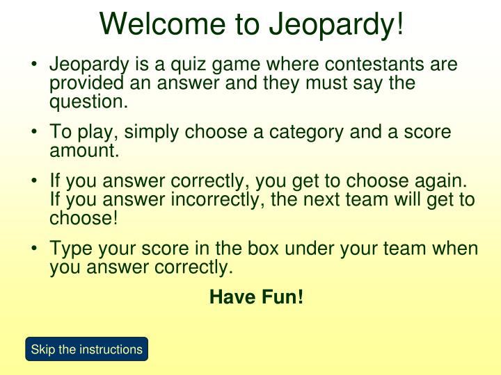 welcome to jeopardy n.