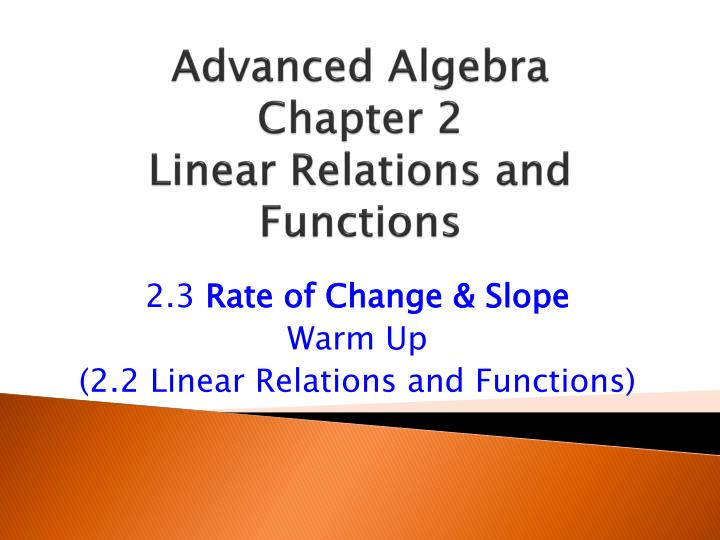 advanced algebra chapter 2 linear relations and functions n.