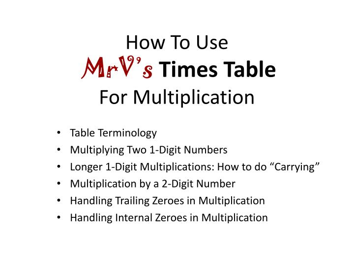 how to use mrv s times table for multiplication n.