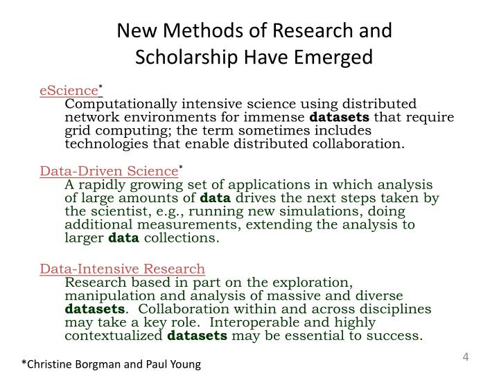 New Methods of Research and