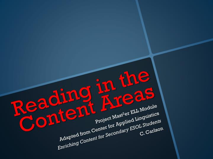 reading in the content areas n.