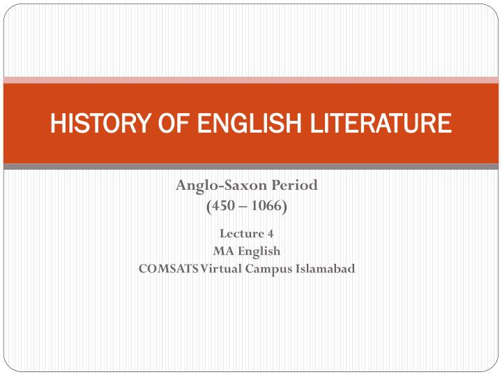 history of english literature n.