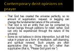 contemporary deist opinions on prayer