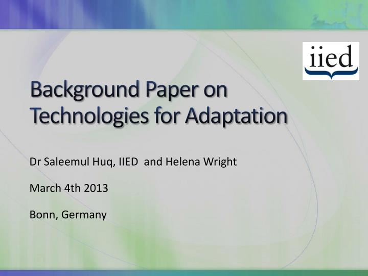 background paper on technologies for adaptation n.