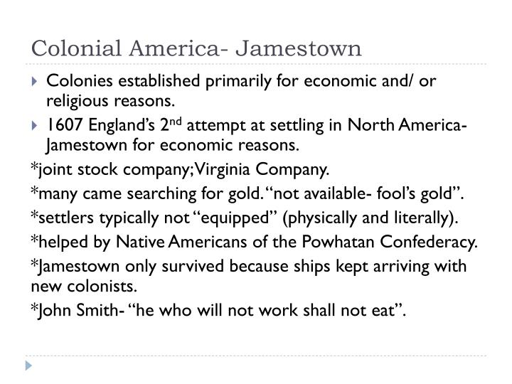 Colonial america jamestown