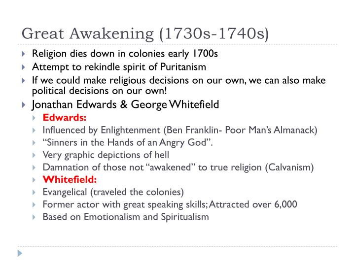 Great Awakening (1730s-1740s)