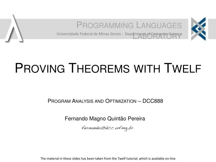 proving theorems with twelf n.