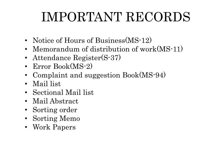 important records n.