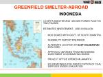 greenfield smelter abroad
