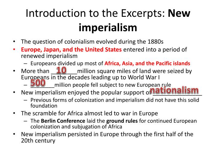 Introduction to the excerpts new imperialism