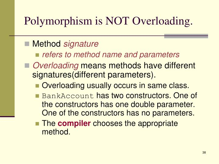 Polymorphism is NOT Overloading.
