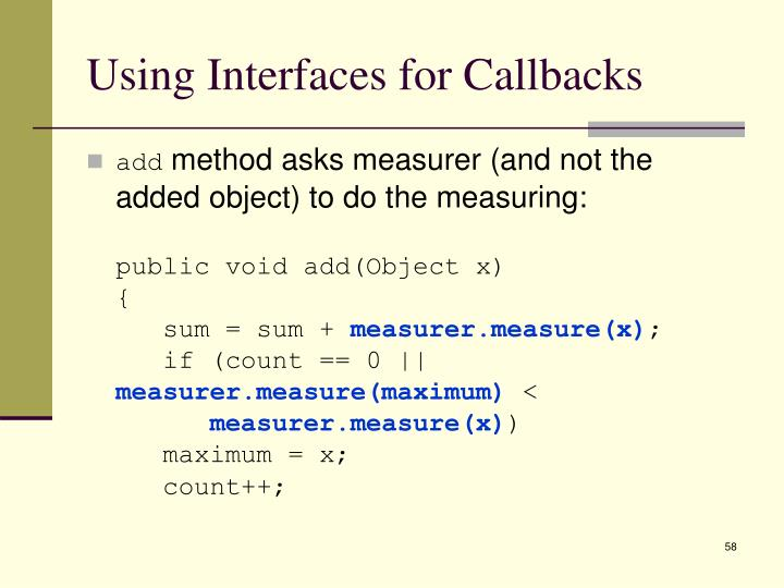 Using Interfaces for Callbacks