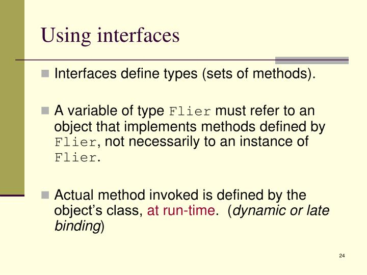 Using interfaces