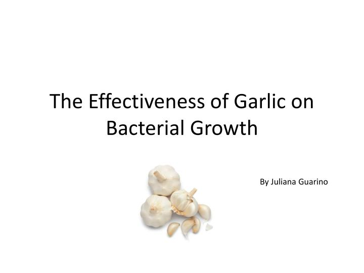 the effectiveness of garlic on bacterial growth n.
