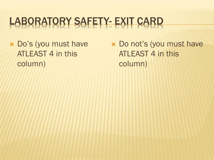 laboratory safety exit card n.