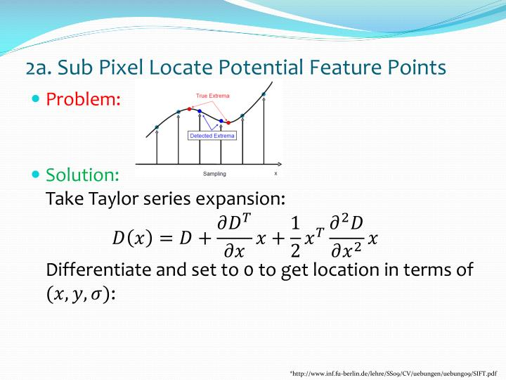 2a. Sub Pixel Locate Potential Feature Points