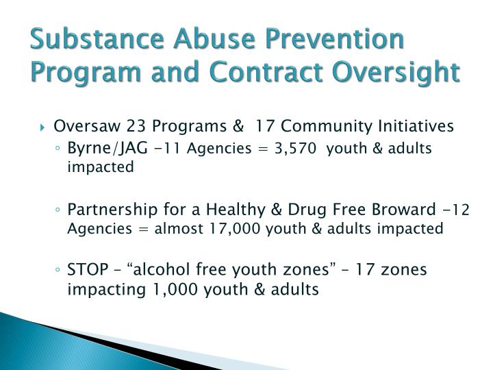 Substance Abuse Prevention Program and Contract Oversight