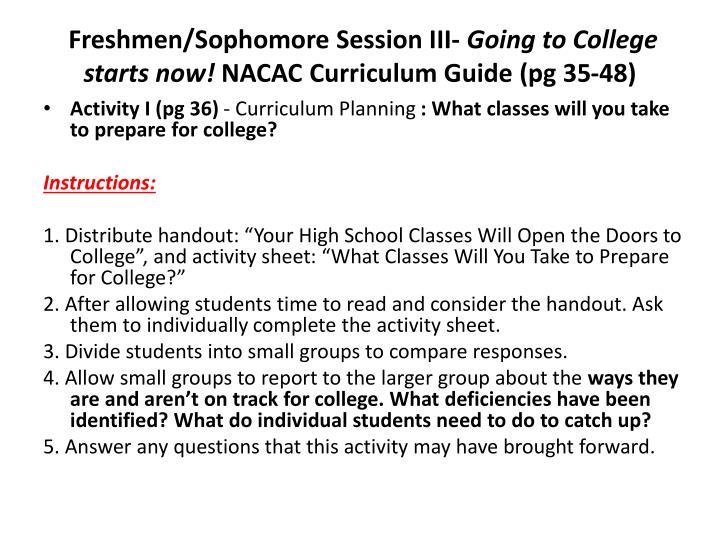 Freshmen/Sophomore Session III-
