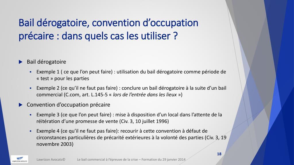 Ppt Le Bail Commercial A L Epreuve De La Crise Powerpoint Presentation Id 2033673