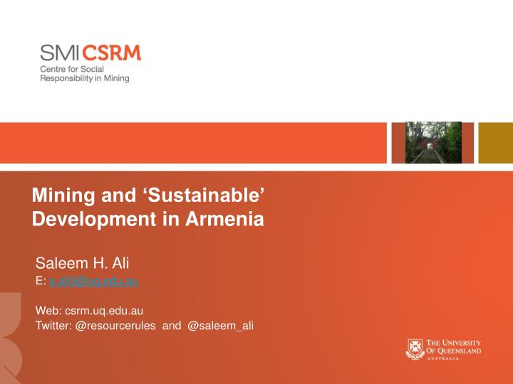 mining and sustainable development in armenia n.