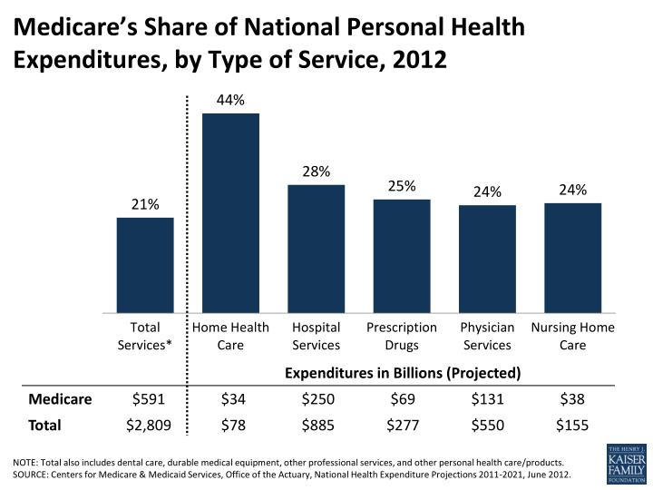 medicare s share of national personal health expenditures by type of service 2012 n.