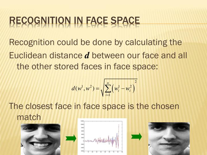 Recognition in face space