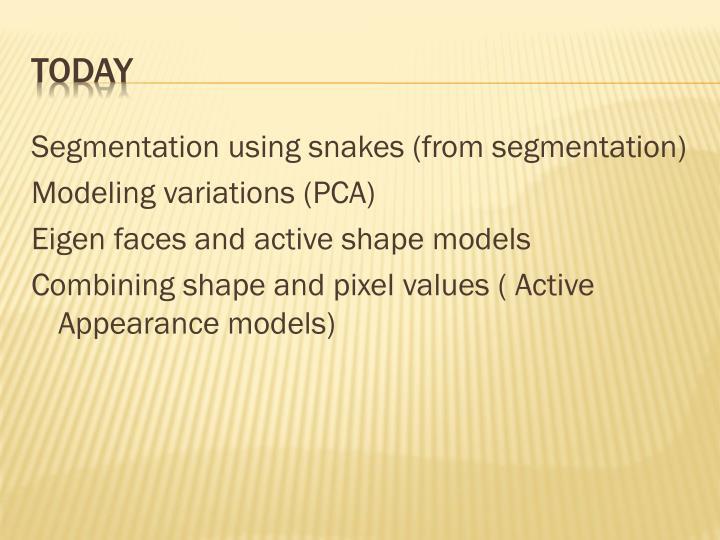 Segmentation using snakes (from segmentation)