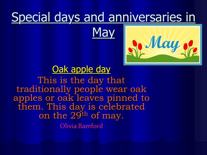 Special days and anniversaries in May
