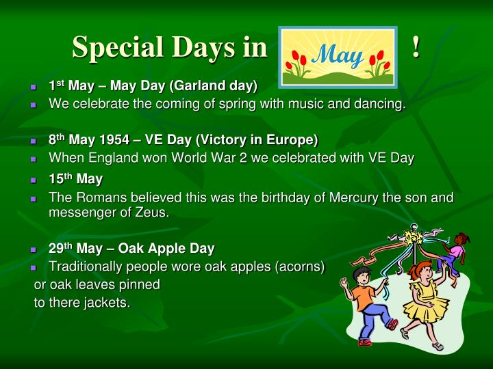 Special Days in                   !