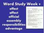 word study week 9