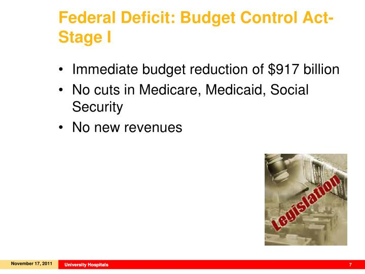 Federal Deficit: Budget Control Act- Stage I