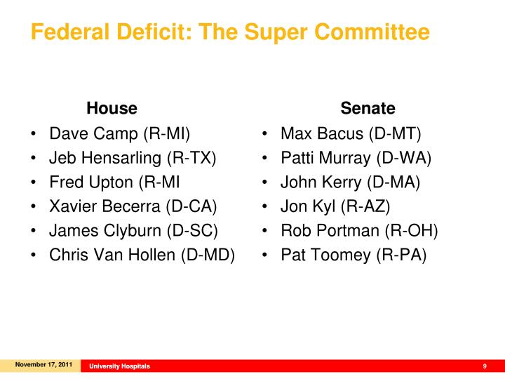 Federal Deficit: The Super Committee