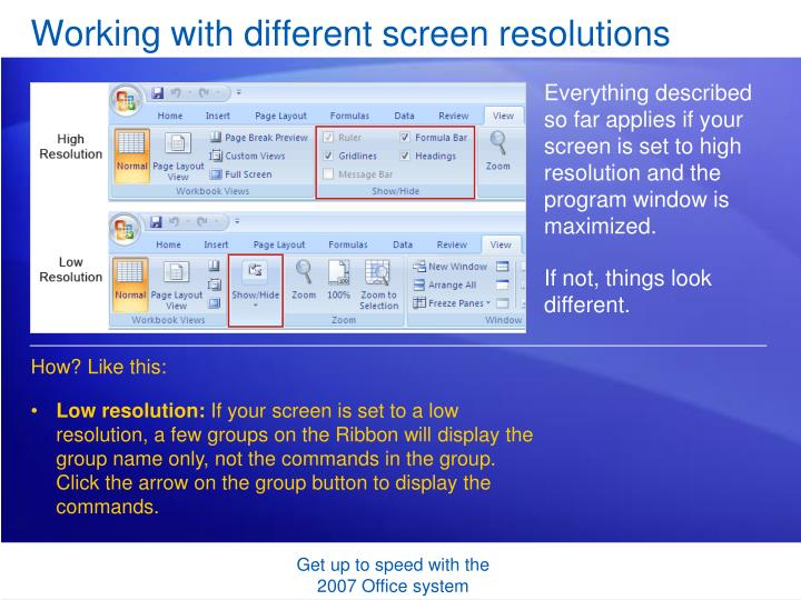 Working with different screen resolutions