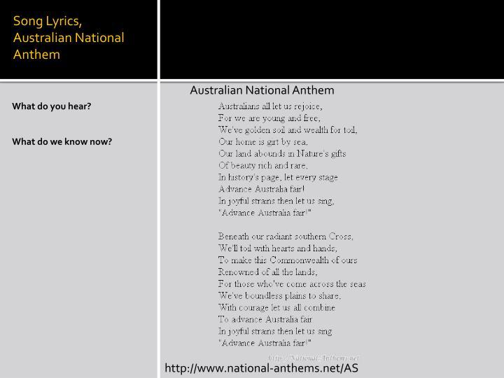 Australia Lyrics of National Anthem: