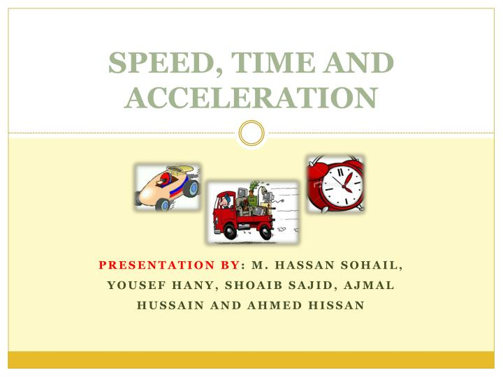 speed time and acceleration n.