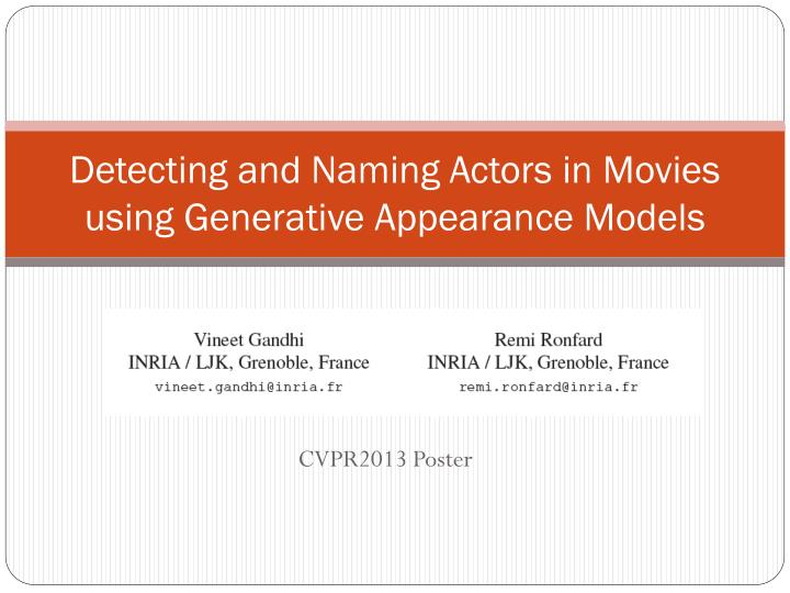 detecting and naming actors in movies using generative appearance models n.