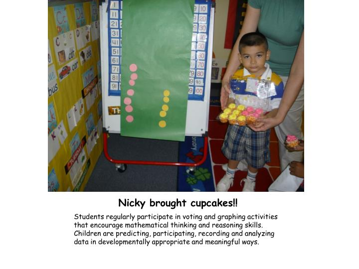 Nicky brought cupcakes