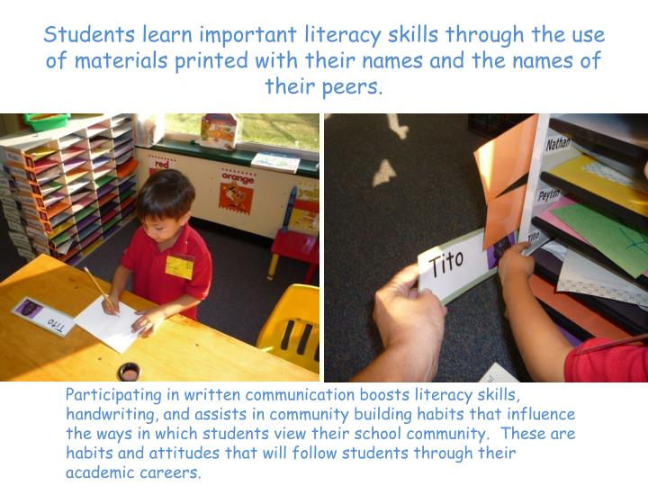 Students learn important literacy skills through the use of materials printed with their names and the names of their peers.