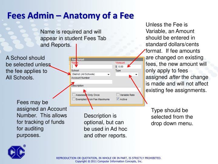 Fees Admin – Anatomy of a Fee