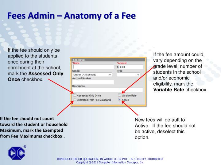 If the fee should not count toward the student or household Maximum, mark the Exempted from Fee Maximums checkbox .