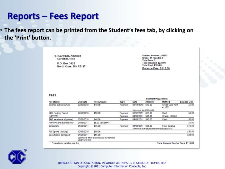 The fees report can be printed from the Student's fees tab, by clicking on the 'Print' button.