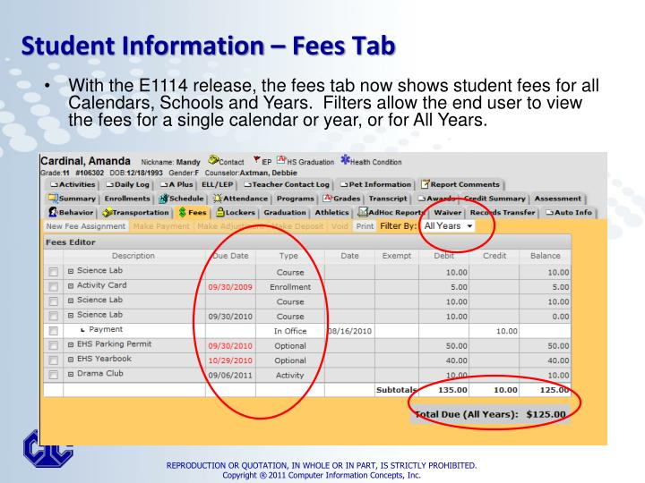 Student Information – Fees Tab