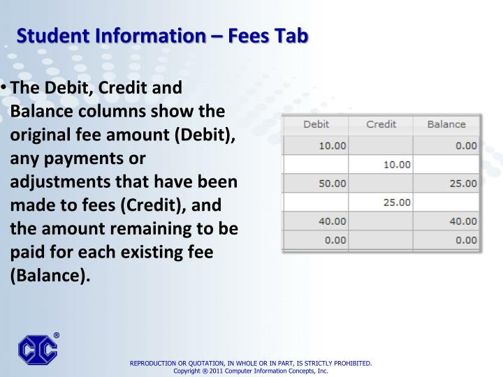 The Debit, Credit and Balance columns show the original fee amount (Debit), any payments or adjustments that have been made to fees (Credit), and the amount remaining to be paid for each existing fee (Balance).