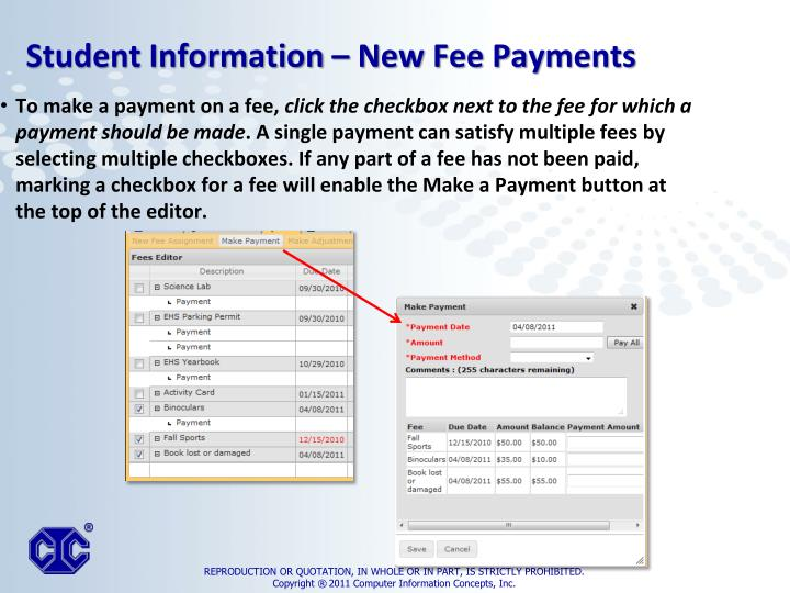 To make a payment on a fee,
