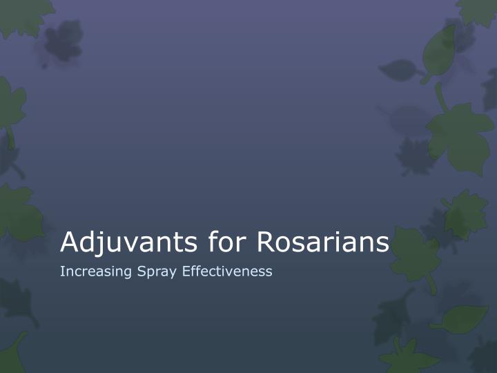adjuvants for rosarians n.