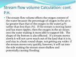 stream flow volume calculation cont p h