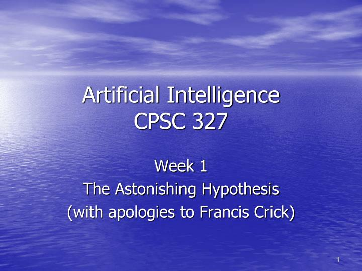 artificial intelligence cpsc 327 n.