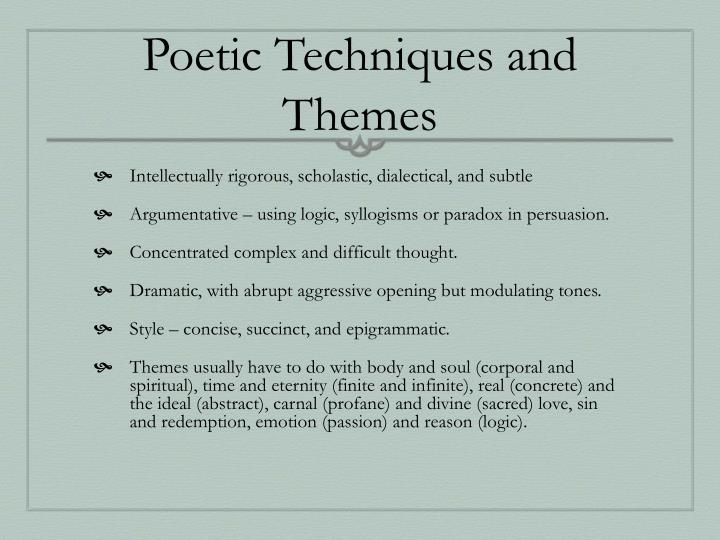 Poetic techniques and themes