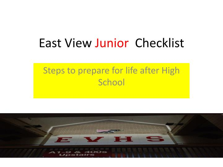 east view junior checklist n.